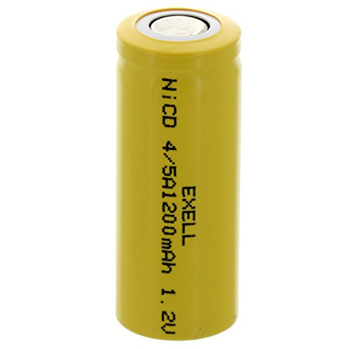 Exell 4/5A 1.2V 1200mAh NiCD Flat Top Rechargeable Battery for high power static applications (Telecoms, UPS and Smart grid), electric mopeds, meters, radios, RC devices, electric tools -