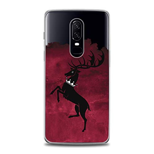 Lex Altern TPU Case for OnePlus 7 Pro 6T 6 2019 5T 5 2017 One+ 3 1+ Baratheon Print Design Deer Symbol Slim fit Gift Cover Soft Clear Flexible Smooth Game of Thrones Red Watercolor Man Lightweight -