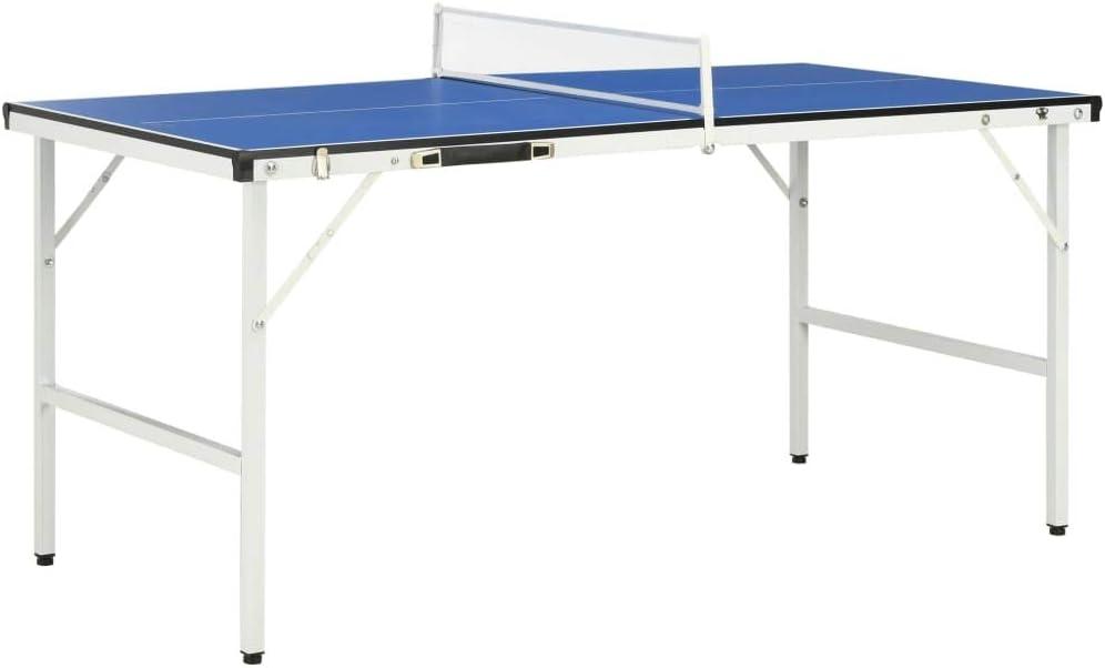 Festnight Mesa de Ping Pong con Red Diseño Plegable Mesa Ping Pong Plegable Mesa Exterior Portatil con Asa Integrada para un Fácil Almacenamiento o Transporte Azul 152x76x66 cm