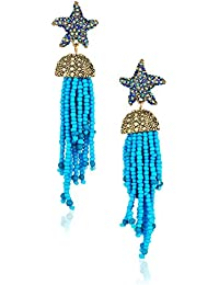 Womens Blue Starfish and Tassel Drop Earrings