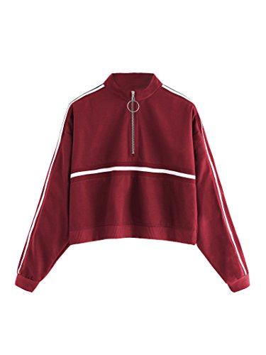 ROMWE Women's Zip Front High Neck Tape Striped Detail Crop Sweatshirt Burgundy S