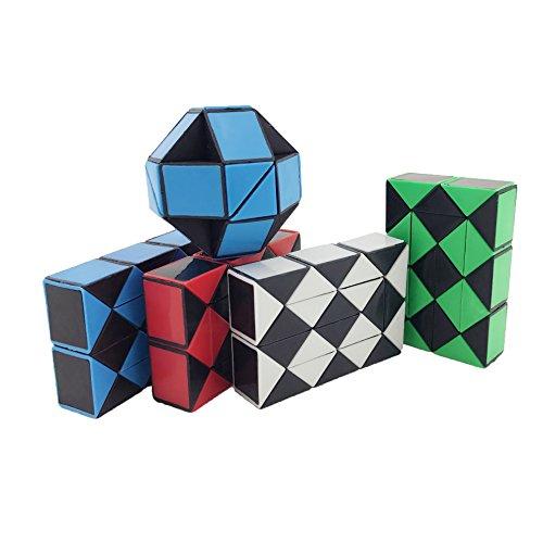 pack-of-4-tkonline-24-part-magic-snake-ruler-twisty-toy-puzzle-blue-black-red-black-white-black-gree