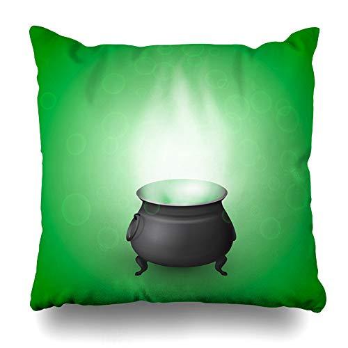 Ahawoso Throw Pillow Cover Holiday Green Black Witch Cauldron Potion Realistic Hallowen Boiler Brew Bubble Cauldren Children Decorative Pillowcase Square Size 18