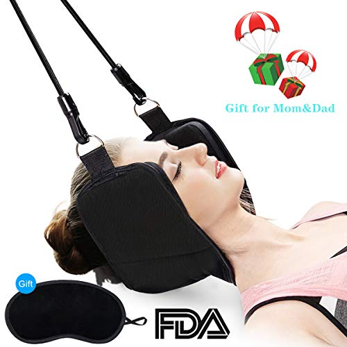 Oucles Head Hammock for Neck and Shoulder Pain Relief, Portable Cervical Traction Device, Physical Therapy Neck Messager Relax Stress Reliever with Eye Mask Black