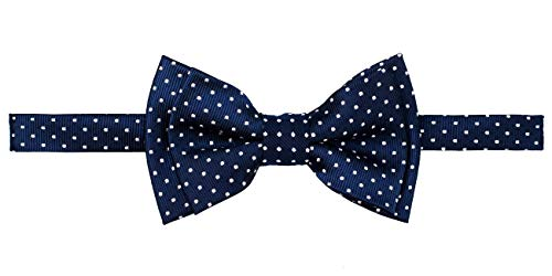 Retreez Modern Mini Polka Dots Woven Microfiber Pre-tied Boy's Bow Tie - Navy Blue with White Dots - 6-18 months ()