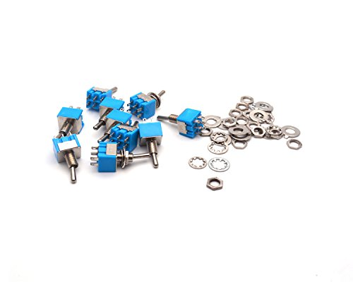 Antrader 12 Pcs AC 125V 6A Amps ON/ON 6 Pin 2 Position DPDT Mini Toggle Switch Blue (Switch Dpdt Mini)