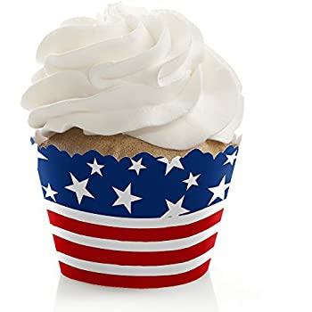 9ddb1b09a48 Stars   Stripes - Memorial Day USA Patriotic Party Cupcake Decorations -  Party Cupcake Wrappers - Set of 12
