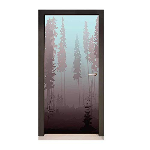 Homesonne Forest 3D Murals Wall Stickers Early Morning in Mysterious Woods with Heavy Fog Coniferous Trees Art Door Decals Pale Blue Dried Rose Maroon,W17.1xH78.7