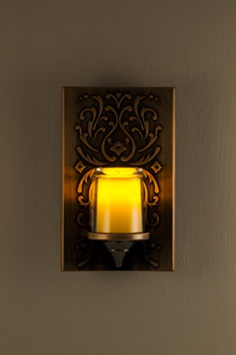 GE 11258 LED CandleLite Night Light, Plug-in, Light Sensing, Auto On/Off, Energy Efficient, Guide Light, Warm Amber Glow, Classic Oil Rubbed Bronze Finish, Flickers Like a Real Candle