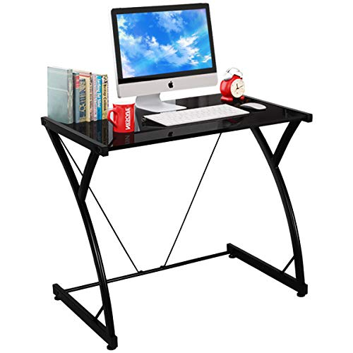 TANGKULA Computer Desk Writing Table Simple Home Office Computer Workstation with Tempered Glass Top Iron Frame Student Writing Desk Home Furniture Black Small Size