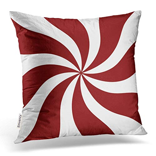 (Emvency Throw Pillow Case Dec Christmassy Peppermint Candy Swirl Red and White Throw Pillow Case Cushion Cover Case Pillowcases Square 18x18 inch)