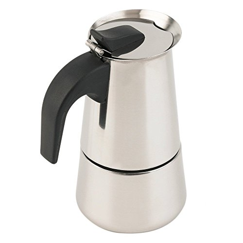 Espresso Coffee Maker Pot Stovetop Moka Coffee Pot Stainless Steel Latte Percolator with Bonus Scoop (2 cups/100ml)