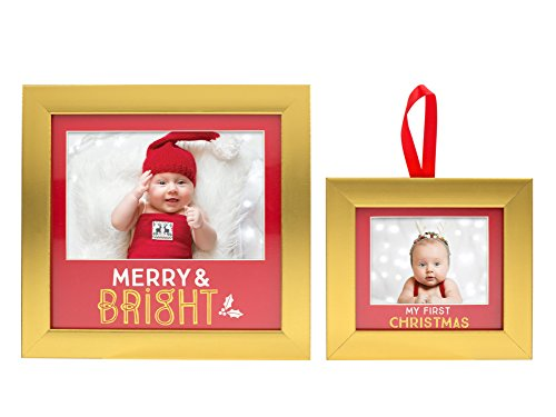 Lil Peach Baby's First Christmas Photo Ornament and Keepsake Holiday Picture Frame Gift Set, Red and Gold by Unknown