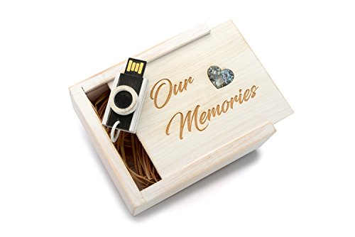 16GB Hand Made Maple Wood - Antique Finish Camera USB 2.0 - Wooden Box with an Abalone (paua) Mother of Pearl Heart Inlay in Raffia Grass - Laser Engraved