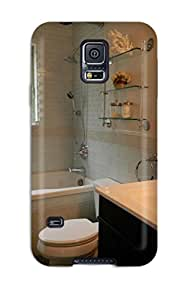 New Arrival Cover Case With Nice Design For Galaxy S5- Coastal Bathroom Lined With Sea-colored Glass Tile