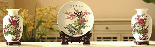 Set of 3 Oriental Porcelain Vases and Plate/Disk, Chinese Painting (Flower and Bird), Home Decor, Gift, China, Handmade, Color: White, Red, Purple, Green, Yellow, Blue (Moon ()