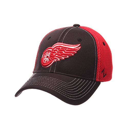 NHL Detroit Red Wings Men's Rally Z-Fit Hat, Medium/Large, Black/Red (Team Apparel Mesh Hat)