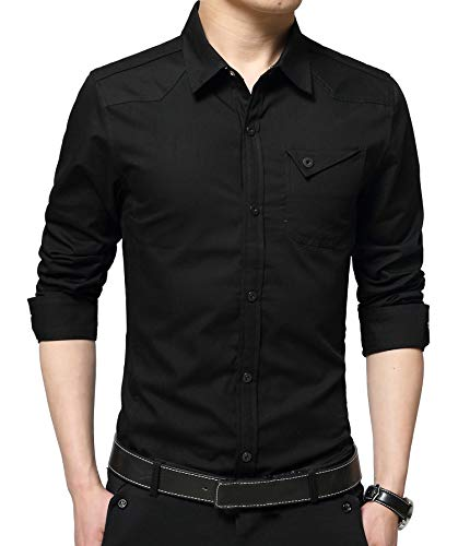 Cotton Men Business Casual Shirt - XTAPAN Mens Casual Cotton Slim Fit Long Sleeve Button Down Dress Shirt Tag 6XL=US 2XL Black 3307