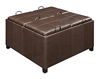 Convenience Concepts Designs4Comfort Times Square Ottoman with 4 Tray Tops, Espresso Faux Leather (B0043XCZVW) | Amazon Products