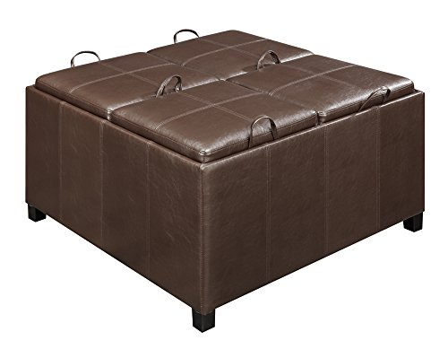 Convenience Concepts Designs4Comfort Times Square Ottoman with 4 Tray Tops, Espresso Faux Leather (Square Chair Leather Times)