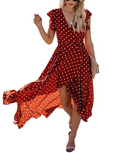 Trendy Queen Women Wrap Maxi Dress Ruffle Short Sleeve V Neck Polka Dot Party Dress (S, Red) -