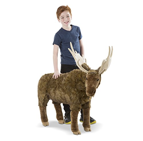 Melissa & Doug Standing Lifelike Plush Giant Moose Stuffed Animal, 38 x 41.5 x 13