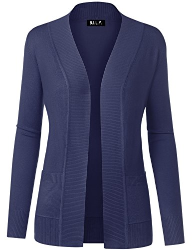 Button Fine Front Gauge - BH B.I.L.Y USA Women's Open Front Long Sleeve Classic Knit Cardigan Navy Medium