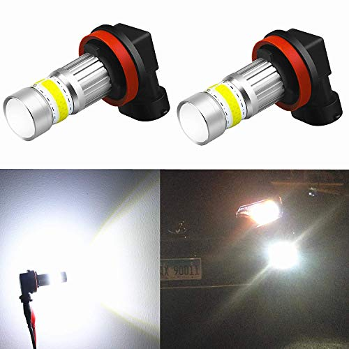 Alla Lighting 2800lm Xtreme Super Bright H11 LED Bulbs Fog Light High Illumination COB-72 LED H11 Bulb H8 H16 H11 Fog Lights Lamp Replacement - 6000K Xenon White