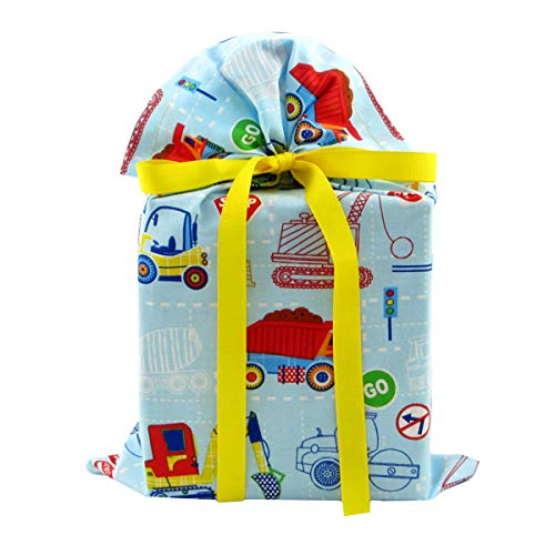 Construction Trucks Reusable Fabric Gift Bag for Child's Birthday or Baby Shower (Standard 10 Inches Wide by 15 Inches High)