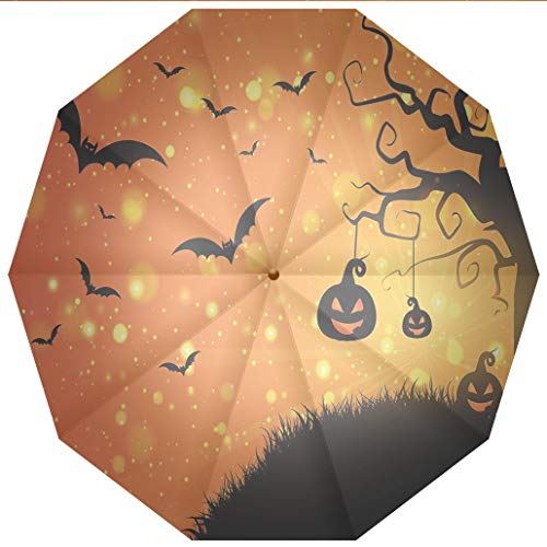 10 Ribs Travel Umbrella UV Protection Auto Open Close Halloween,Magical Fantastic Evil Night Icons Swirled Branches Haunted Forest Hill Windproof - Waterproof - Men - Women -Lightweight- 45 inches