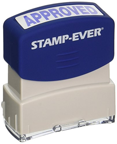Stamp-Ever Pre-Inked Message Stamp, Approved, Stamp Impression Size: 9/16 x 1-11/16 Inches, Blue (5941)
