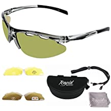 Fore Lightweight TR90 GOLF SUNGLASSES, With Interchangeable Lenses Including POLARIZED and Light Enhancing (Low Light). For Men and Women. UVA / UVB (UV400) Protection. Green Opaque Frame