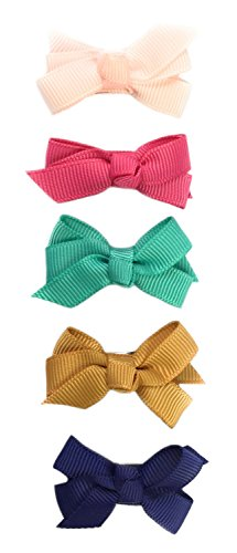 Baby Wisp 5 Grosgrain Boutique Hair Bows Baby Toddler Hairclips - Chantilly Gift ()
