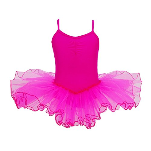 [FEESHOW Girls' Camisole Leotard Ballet Dress Tutu Skirt Ballerina Dance Costumes Rose 11-12] (Figure Skating Halloween Costumes)