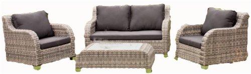 Luxus Garten Lounge Set - Tisch - 2 Sessel - Sofa - inkl. Auflagen, Poly-Rattan - mocca-sand
