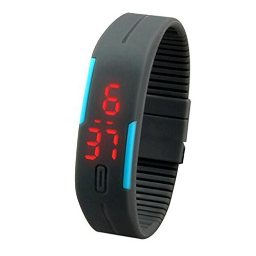 Men LED Sports Waterproof Wrist Watch,Tuscom@ New Ultra Thin Girl Sports Silicone Digital LED Wrist Watch (Gray)