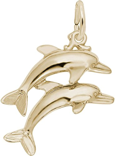 Yellow Gold Two Dolphins Charm