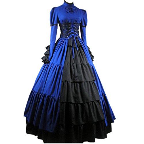 Partiss Damen Adorable Langarm Lace Gothic Victorian Lolita Kleid Blau IY8oo
