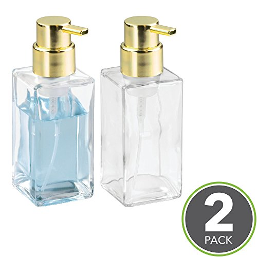 Brass Bed Warmer - mDesign Foaming Soap Glass Dispenser Pump Bottle for Bathroom Vanities or Kitchen Sink, Countertops - Pack of 2, Square, Clear/Gold/Brass