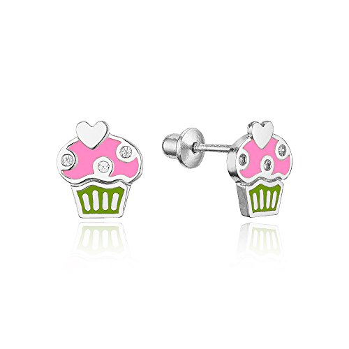 925 Sterling Silver Rhodium Plated Enamel Cupcake Cubic Zirconia Screwback Baby Girls Earrings