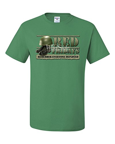 Red Fridays Remember Everyone Deployed T-Shirt Support US Troops Tee Shirt Green S