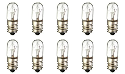 Picture Bulb Tubular Light - Pack Of 10 15T4 15 Watt T4 Tubular Clear Candelabra (E12) Base Indicator Incandescent Light Bulbs