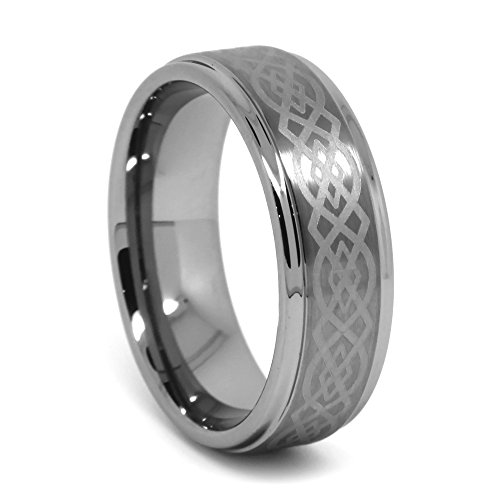 Tungsten Wedding Band, Celtic Tungsten Ring for Men, High Polish Step Edge, Flat Top with Laser Celtic Design, 8mm (Flat Edge Polish)