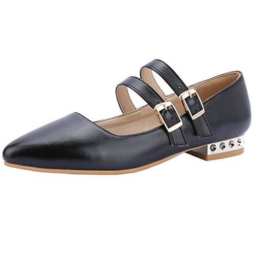 Strap Fashion Pumps Women Black Pointed KemeKiss Toe 5Xvwx5H