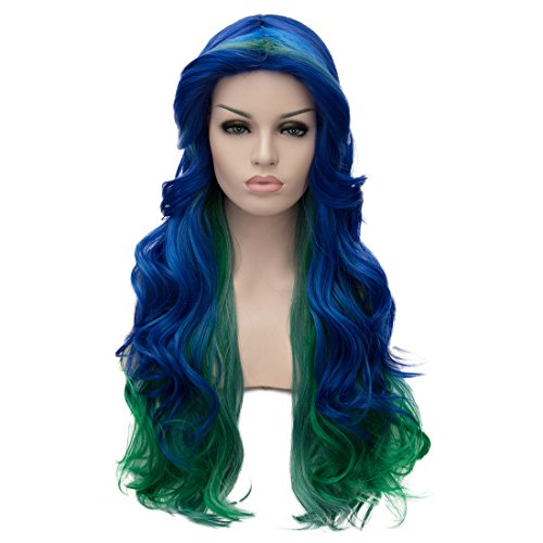Alacos 70cm Blue Ombre Green Long Heat Resistant Hair Multicolored Cosplay Wigs for Women+ Wig Cap ()