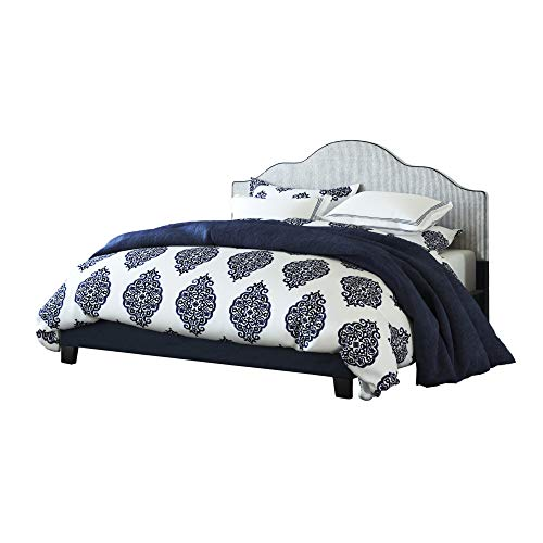 - Embassy Cal King Upholstered Bed in Midnight Blue with Arch Curved, Padded Headboard, And Platform Style Base, by Artum Hill