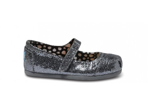 c74d8390503ef Amazon.com: TOMS Kids Classics Mary Jane Pewter Glitter Size 2: Shoes