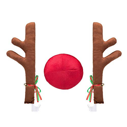 QZS Car Reindeer Antlers & Nose - Window Roof-Top & Grille Rudolph Reindeer Jingle Bell Christmas Costume Auto Accessories]()