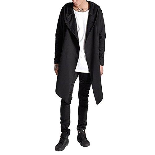 Cloak Style Long Sleeve - Comeon Mens Long Sleeve Long Cardigan Drape Oversized Cape Hooded Cardigans Cloak Hoodie Sweatshirt Coat Overcoat Outwear (Black,L)