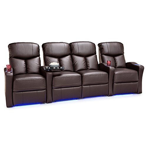 Seatcraft Raleigh Home Theater Seating Manual Recline Leather Gel (Row of 4 Loveseat, Brown)